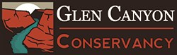 logo with illustration of canyon left of words Glen Canyon Conservancy