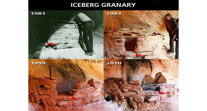 Image depicting vandalism at Iceberg Granary over time: 1981 completely intact, 1983 some roof damage, 1999, half of the structure is gone, 2010 it is a pile of rocks with burn marks.