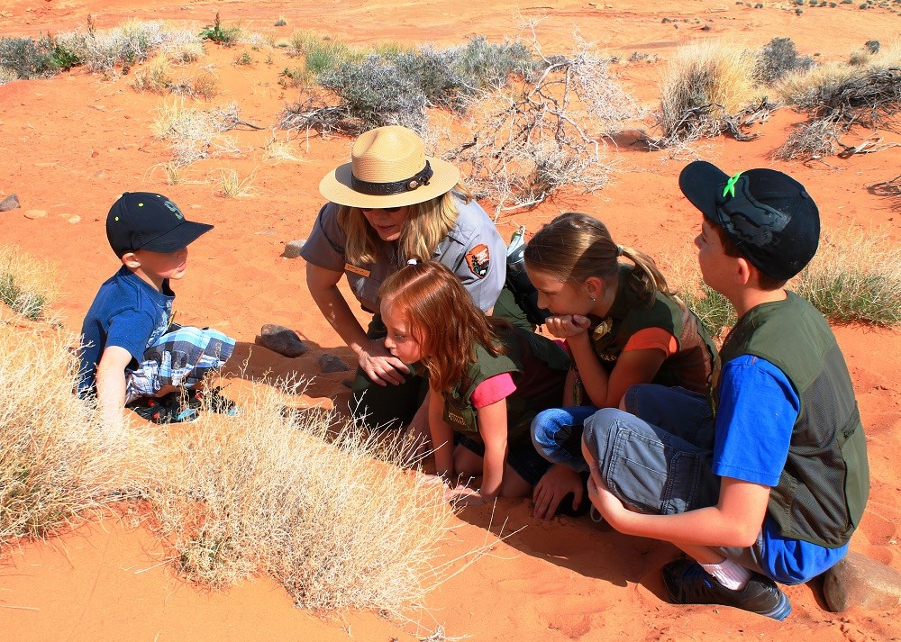 A ranger kneels in the sand with four kids all looking at vegetation