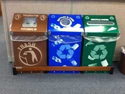3-Bin-Recycling-Station. Trash, cans, paper.