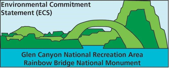 Green and blue logo for Glen Canyon National Recreation Area environmental commitment