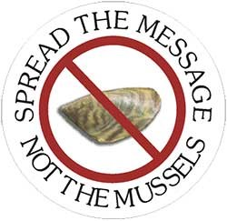 Anti-mussel logo. Spread the message, not the musels.