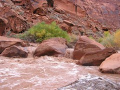 Water rushes through large sandstone boulders. Tall cliffs in the background.