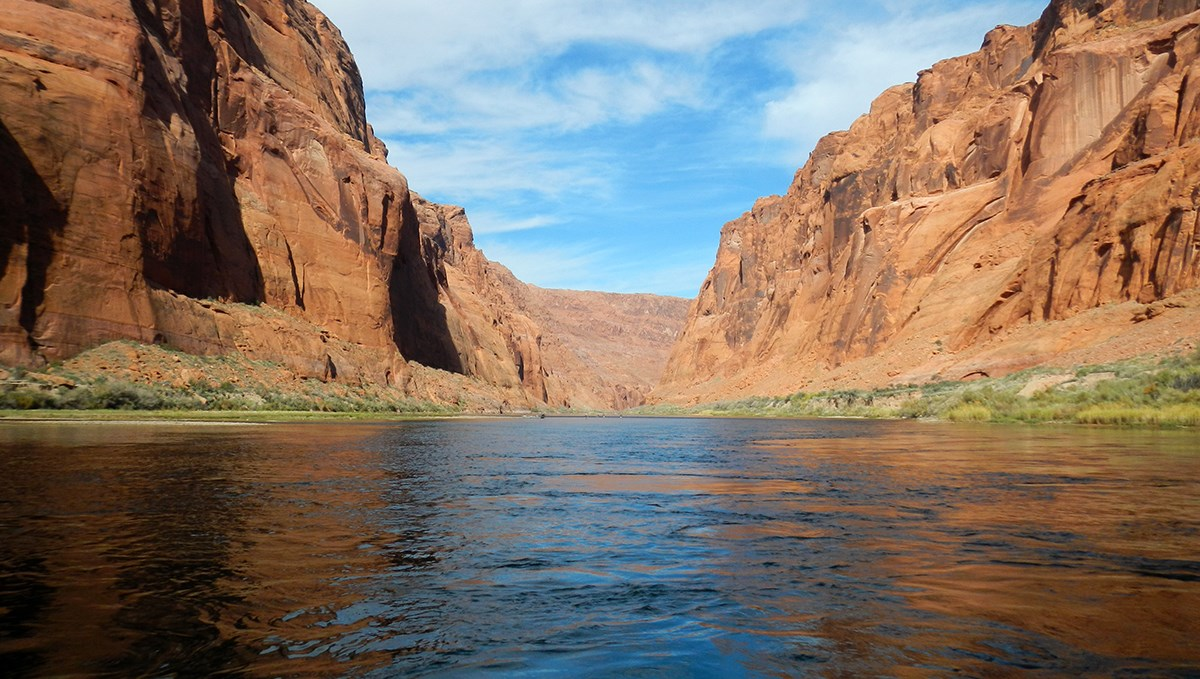 On a river between shoreline vegetation and sandstone canyon walls