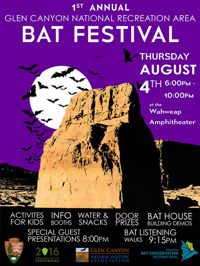 Poster for Bat Festival listing events and sponsors.