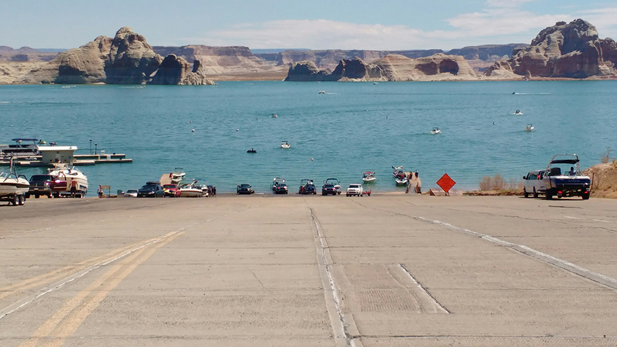 Busy boat ramp at Lake Powell