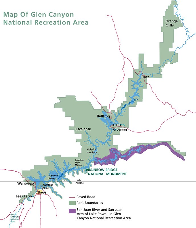 Map of Glen Canyon National Recreation Area. San Juan Arm of Lake Powell and San Juan River is highlighted.