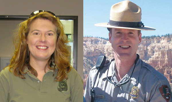 Headshots of Park Rangers Laurie Axelson and Brent McGinn.