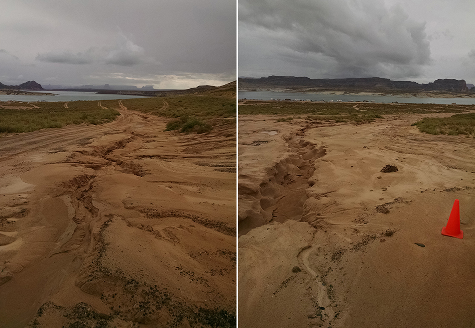 Two images showing extensive flood damage in the form of erosion along a beach. Orange traffic cone for scale. Lake and cloudy skies in the background.