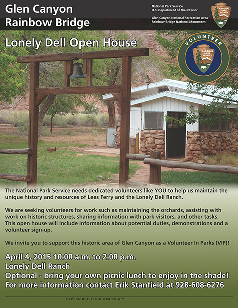 Flyer for Lonely Dell Open House April 4 2015. A white wooden and brown stone house sits on a green lawn. Volunteer-in-Parks logo in corner.