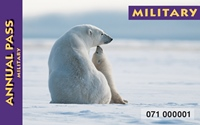 America the beautiful annual military pass for 2016. A Polar bear and cub on the ice.