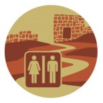 Illustration of restroom logo next to archaeological site