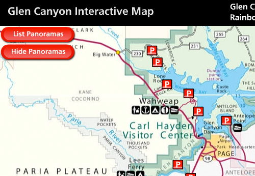 Portion of Interactive Map of Glen Canyon National Recreation Area. This part depicts the Wahweap area and Page, Arizona.