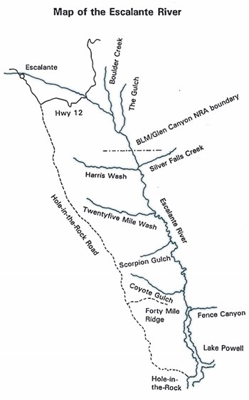 Simple map showing Escalante River corridor from Hwy 12 to Lake Powell