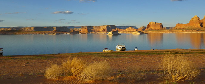 A panoramic view of Lake Powell with cliffs in the background and tumbleweeds in the foreground. In the middle are three boats beached.
