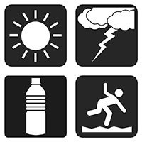 Four black and white icons clockwise from left: the sun, a cloud with lightning, a person falling down on rough terrain, a water bottle.