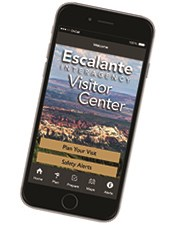 Smart phone showing Escalante app opening page