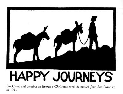 Blockprint made by Everett Ruess in 1933. It shows Everatt leading two donkeys up a hill.