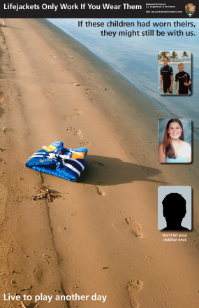 Image of poster for lifejacket safety. A picture of a lifejacket alone on a beach next to pictures of children who have drowned in Lake Powell because they were not wearing lifejackets.