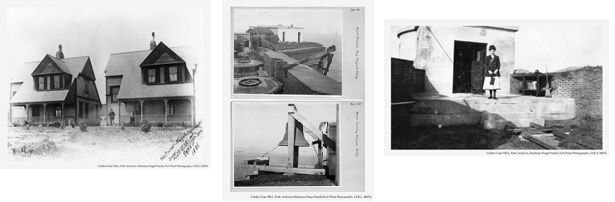 Images from the Hartmann Nagel Collection, featuring the lighthouse keepers homes, images of Fort Point and the Fog Bell, and Rankin's wife.
