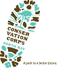 Conservation Corps North Bay Logo A Path to a better future with boot tread image in brown and blue.
