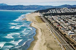 ariel view of ocean beach shoreline