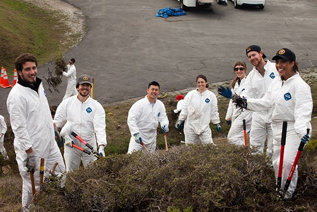Volunteers help restore the Nike Missile Site.