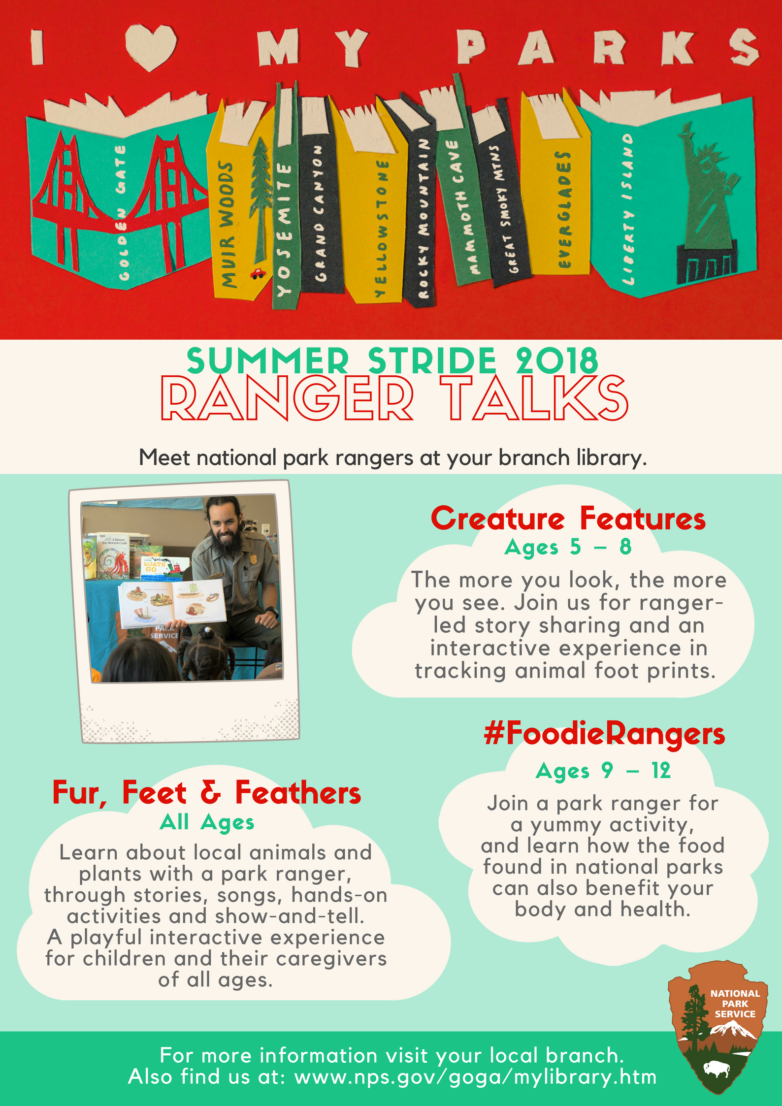 Summer stride program flier for ranger talks. Flier has a row of books across the top, a phot of a ranger reading a book to children and a list of three ranger talks.