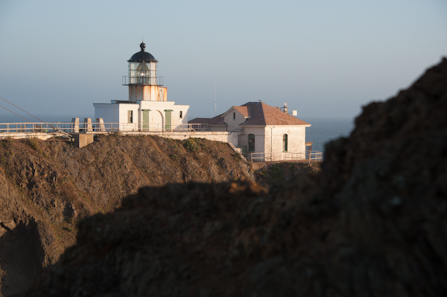 View of Point Bonita Lighthouse and surrounding cliffs.