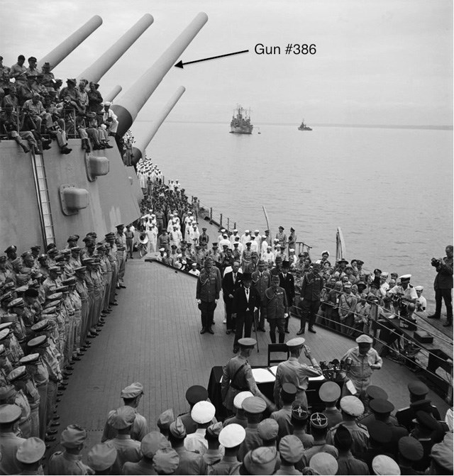 historic photo of the Japanese surrender ceremonies aboard USS Missouri in 1945