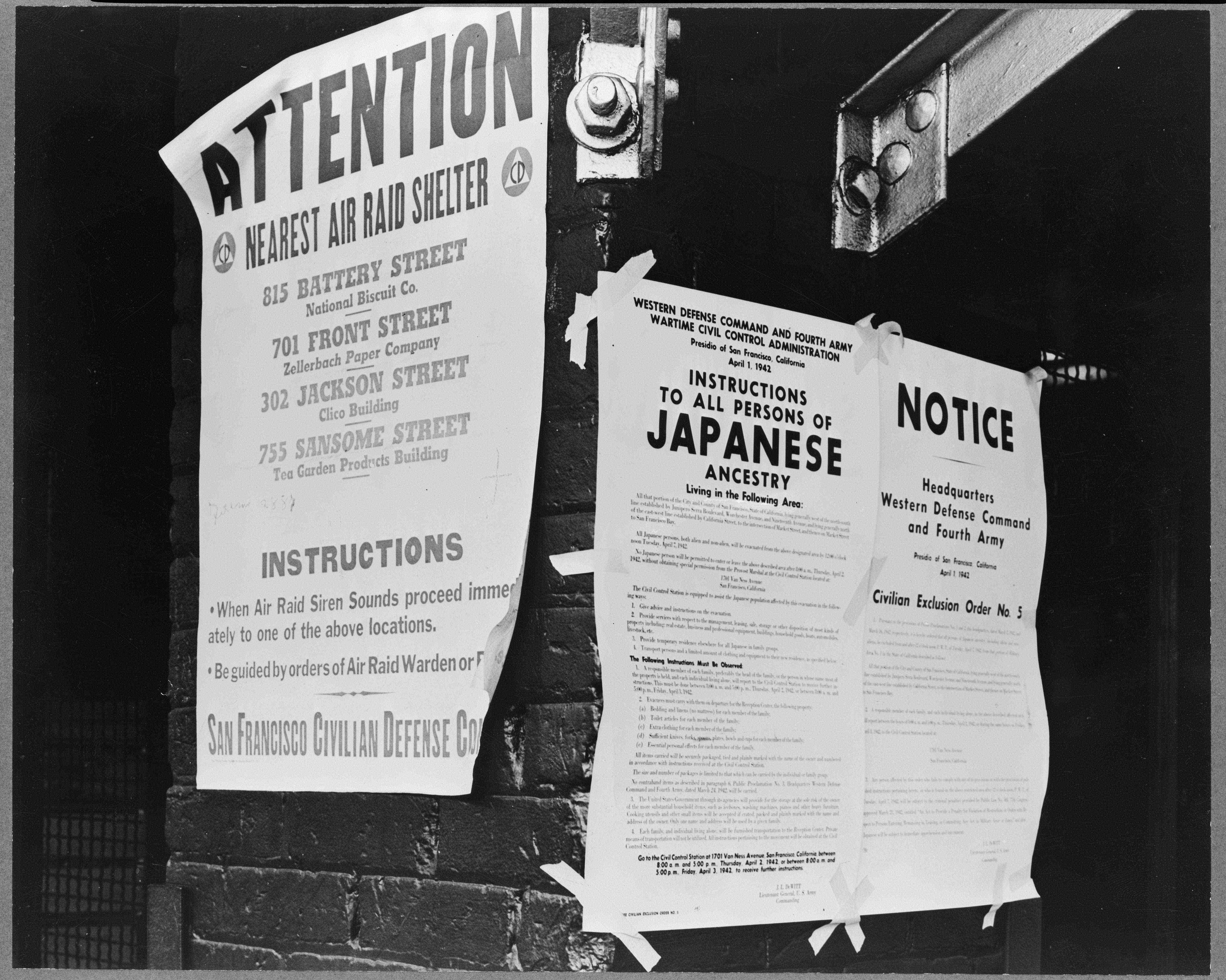 Signs posted directing japanese americans to evacuate. San Francisco, April 1942