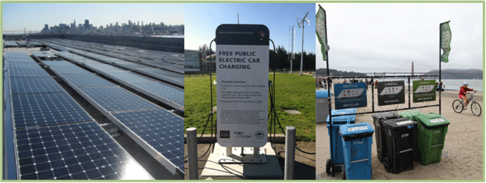 alcatraz solar panels, nps electric car charging station, beach waste diversion