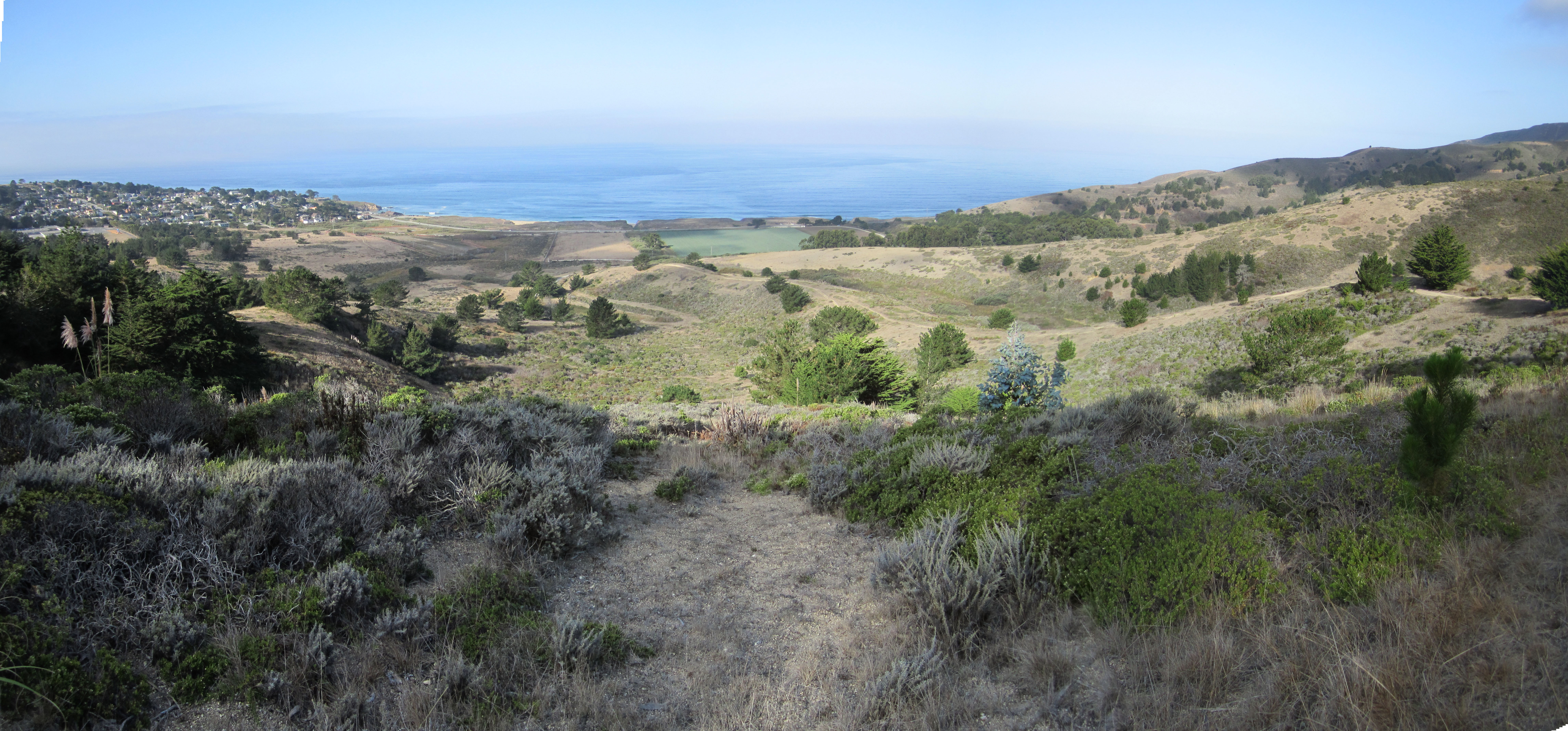 View of the Rancho Corral de Tierra from the mountains found in the east looking toward the Pacific Ocean in the west.