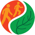 Healthy Parks, Healthy People logo with two people hiking and leaf