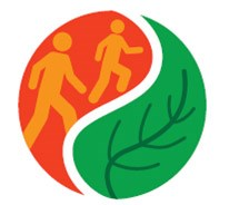 Healthy Parks Healthy People logo with two people hiking and leaf