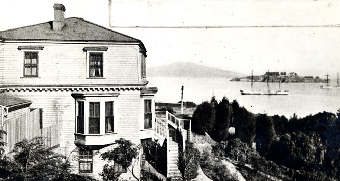 historic view of Fort Mason residence with Alcatraz in the background