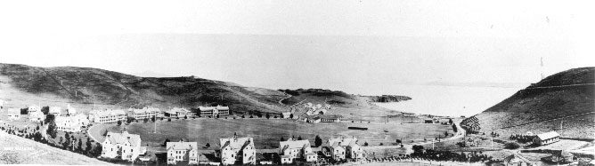 historic view of Fort Baker, looking towards San Francisco Bay