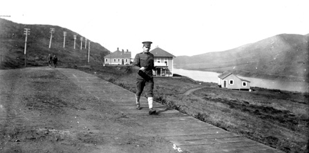 image of soldier walking along Fort Barry road