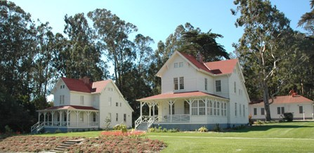 view of decorative Queen Anne residences at the Presidio of San Francisco