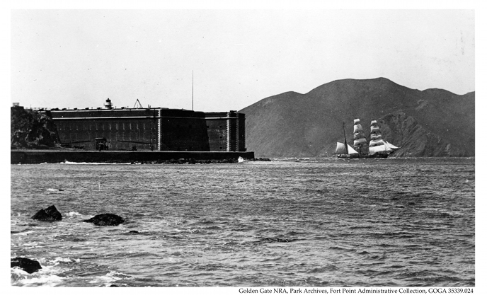 1860s Fort Point with sailing ship passing