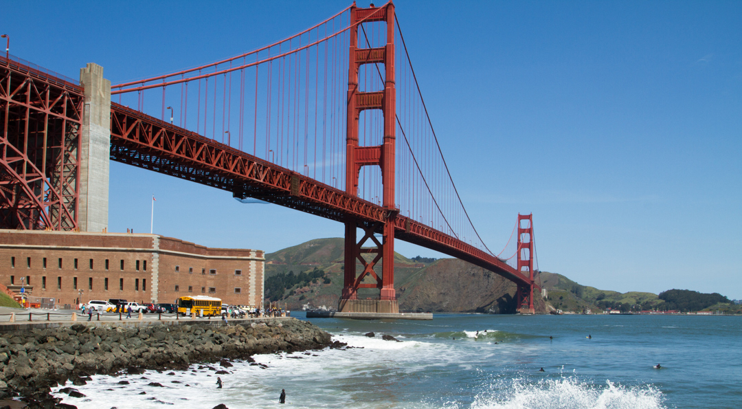 Fort Point with the Golden Gate Bridge above.