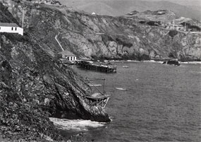 Inclined tram and boat landing. Photo circa 1943.