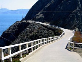 Photograph of roadbridge built to replace a portion of the Point Bonita trail washed out during the 1982-3 El Nino.