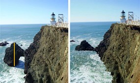 Side by side images of the arch at Point Bonita, each with two different sea levels.