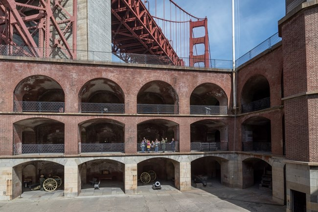 Fort Point Arches, Students, and the Golden Gate Bridge
