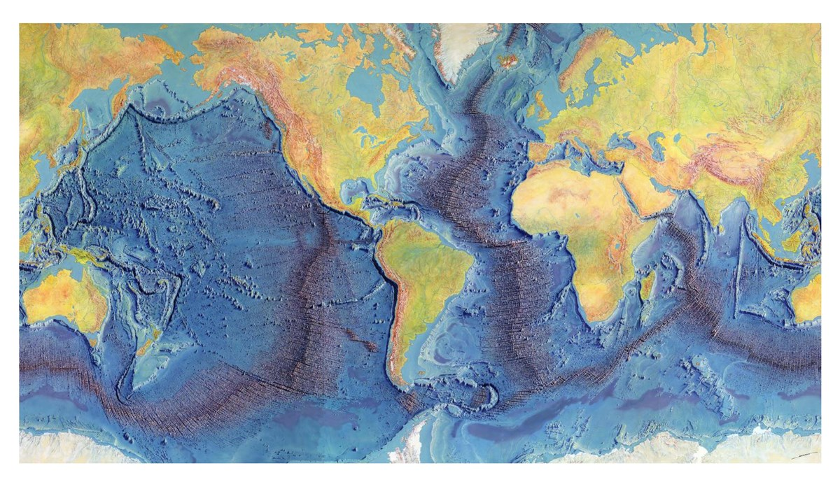 Marie Tharp and Bruce Heezen's map of ocean topography