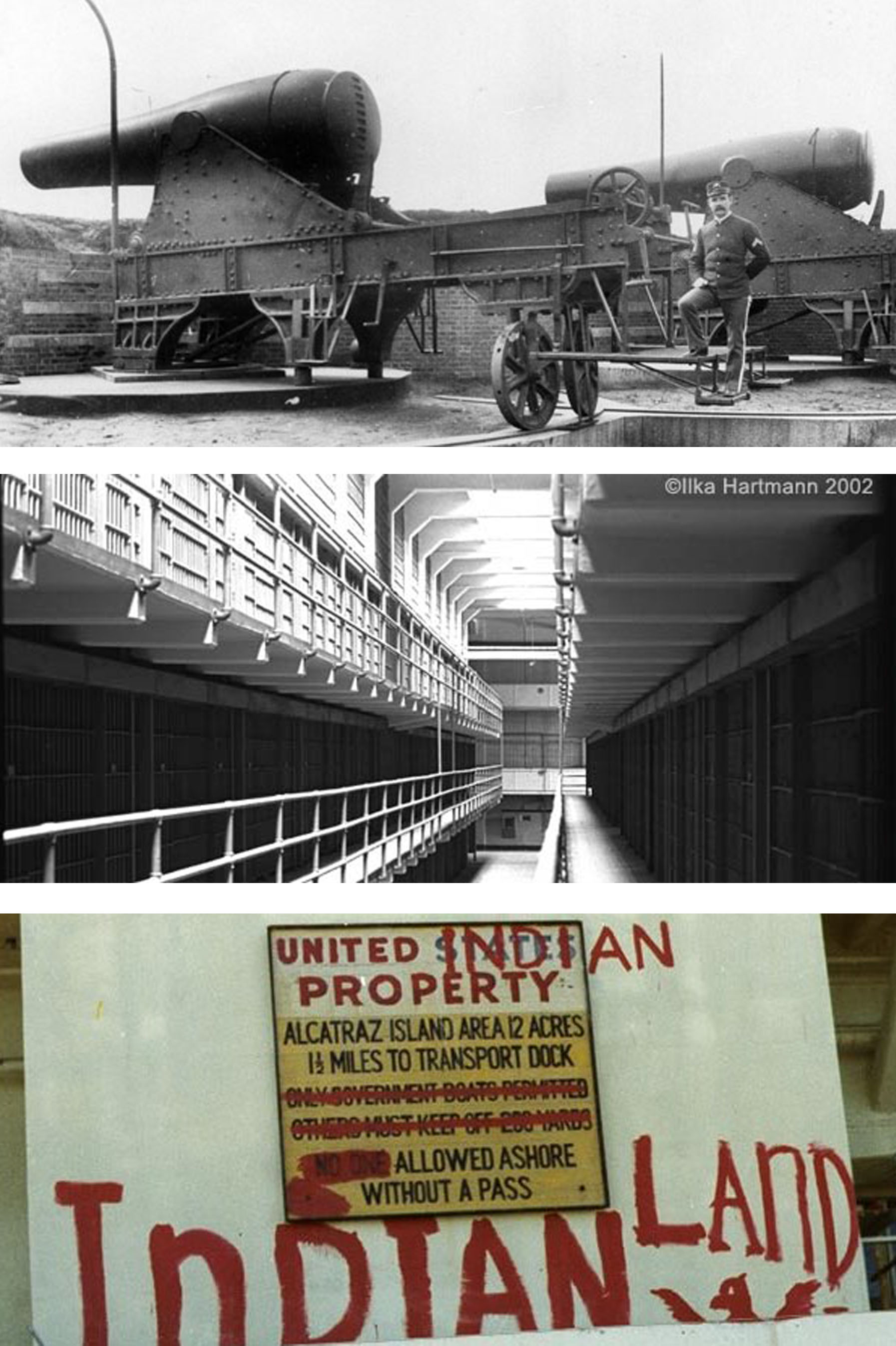Composite images of Alcatraz as an army gun battery, a federal prison, and a welcome sign during the Native American Occupation.
