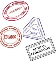 Depictions of several tectonic vacation passport stamps
