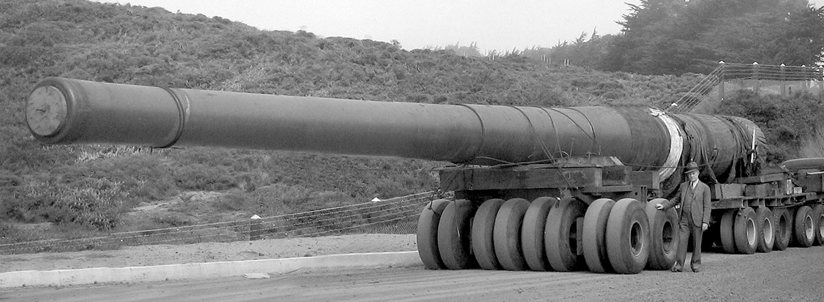 historic image of 16-inch gun on trailer