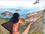 illustration showing Coast Miwok at water's edge
